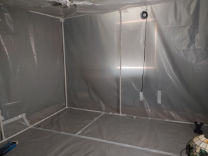 image of plastic wrapped bedroom, no furniture